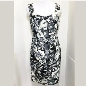 HALOGEN 8 P Black Floral Sheath Dress Gray Camo